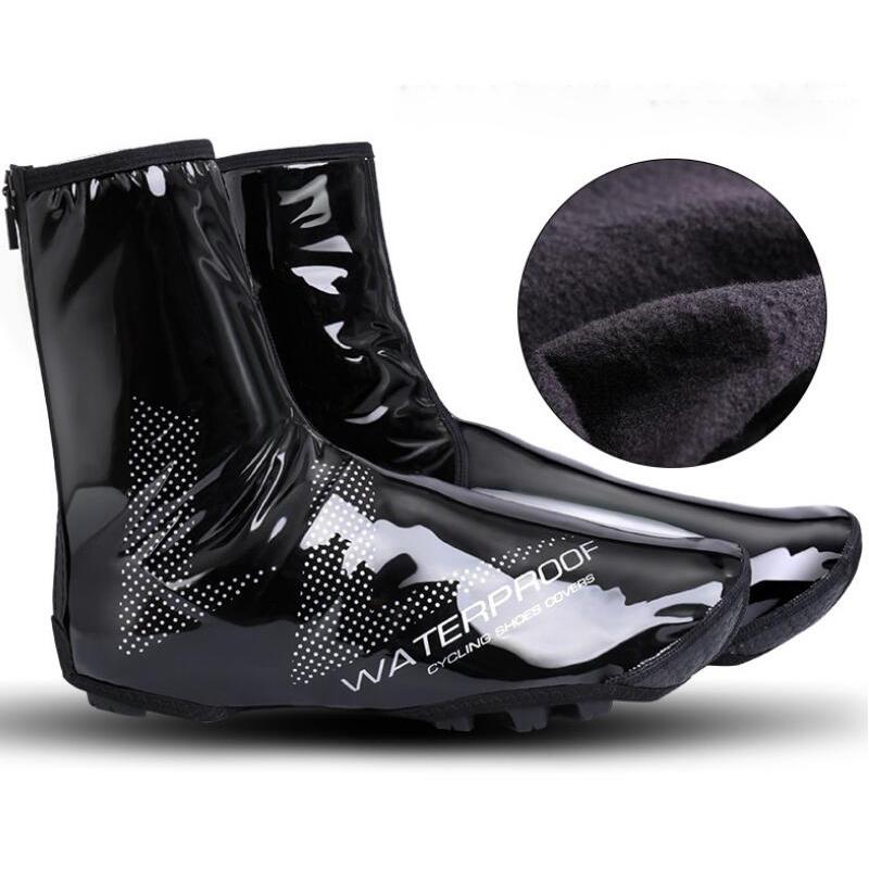 Winter Zipper Waterproof Cycling Shoe Covers PU Fleece Therma Bicycle Overshoes