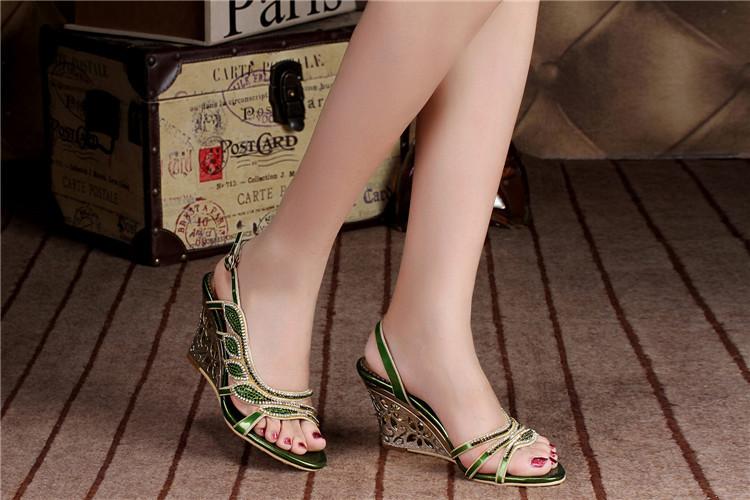 2016 Summer New Luxury Diamond Shoes Women 8cm High Heels Sexy Wedge Sandals Big Size 114
