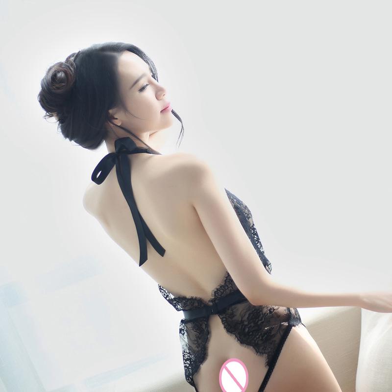 Black White Sexy Lingerie Lace Leotard Open Crotch Teddies Sex Products Women Underwear Female Transparent Leotard Intimates D18110801