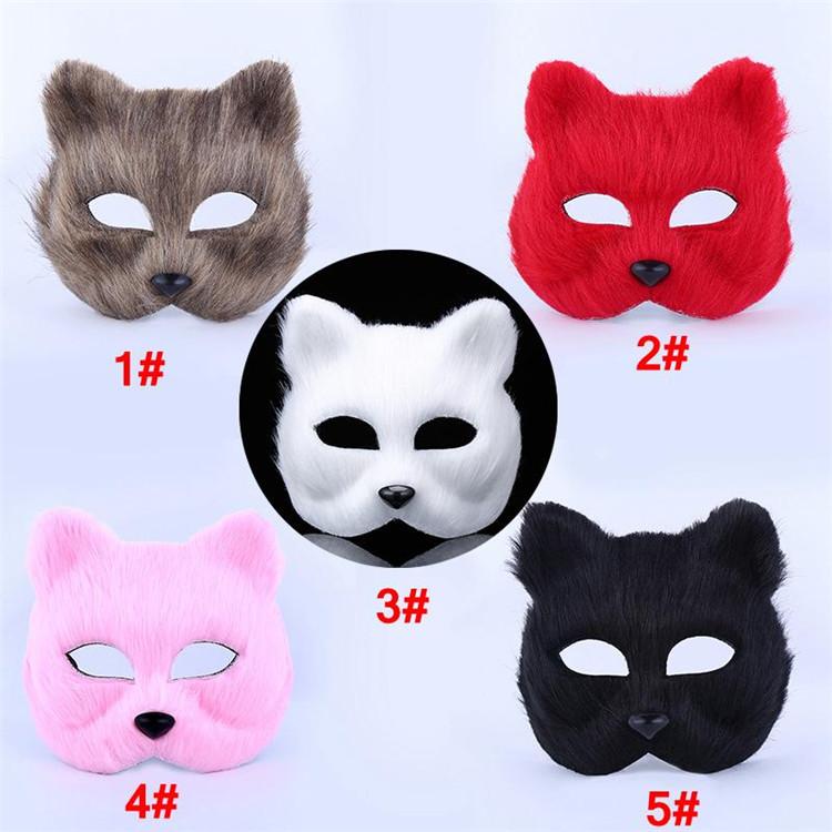 Halloween Fox Fur Mask Women Party Fashion Sexy Masquerade Mask Realistic Fox Half Animal Mask Fox Cosplay Dance Masks T1I997