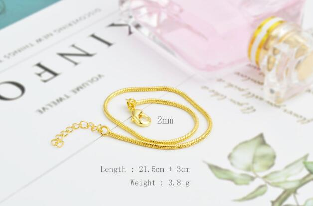 2mm Snake chain plating Gold silvery Bracelet Foot chain Side Bracelet Foot ornament 21.5cm+3cm girl woman Fashion ornaments