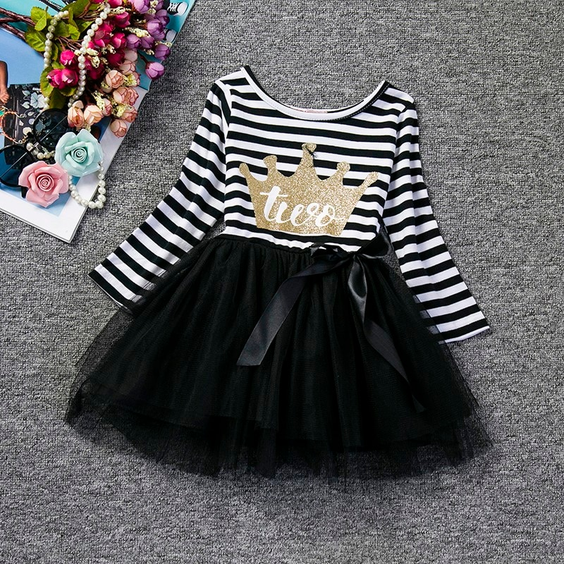 Autumn Dress For Newborn Baby Girl 1 2 Years Birthday Striped Girl Clothes Infant Kids Girls Christening Gowns Toddler Party Outfits