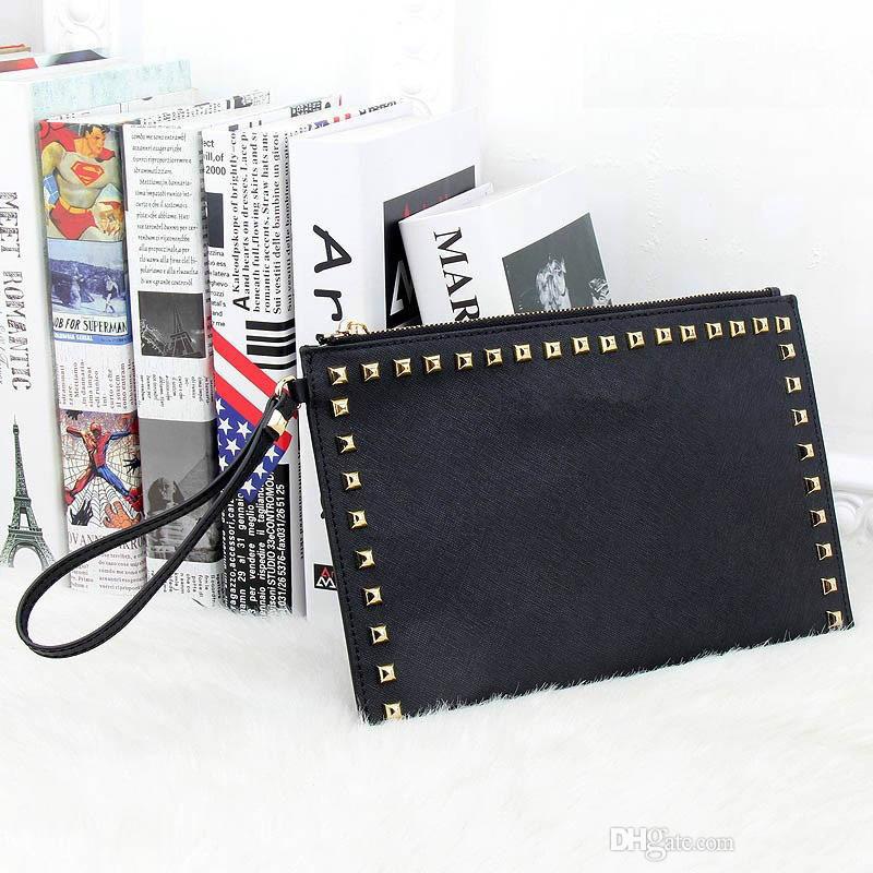 Neue Art- und Weiseart-PU-Leder-Handtasche Berühmte Marke Retro- Niet-Einkaufstasche-Dame Mappe Clutch Female Purse Evening Necessaries Bag