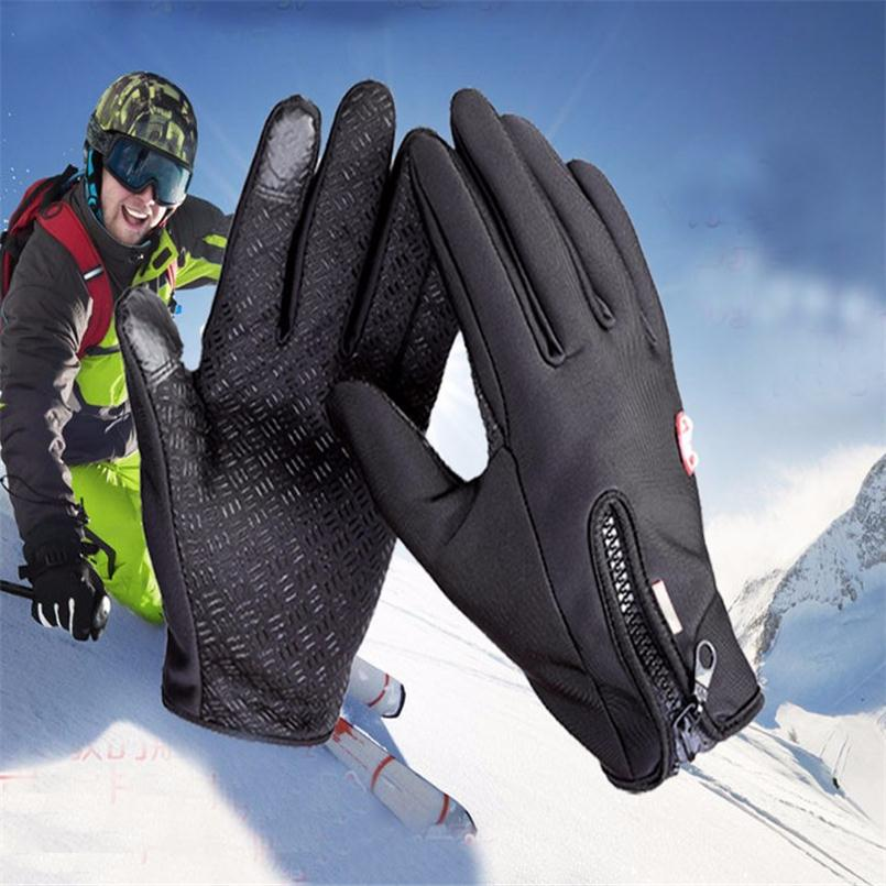 Pair PU Leather Touch Screen Gloves Zipper Thermal Winter Sport Ski Warm