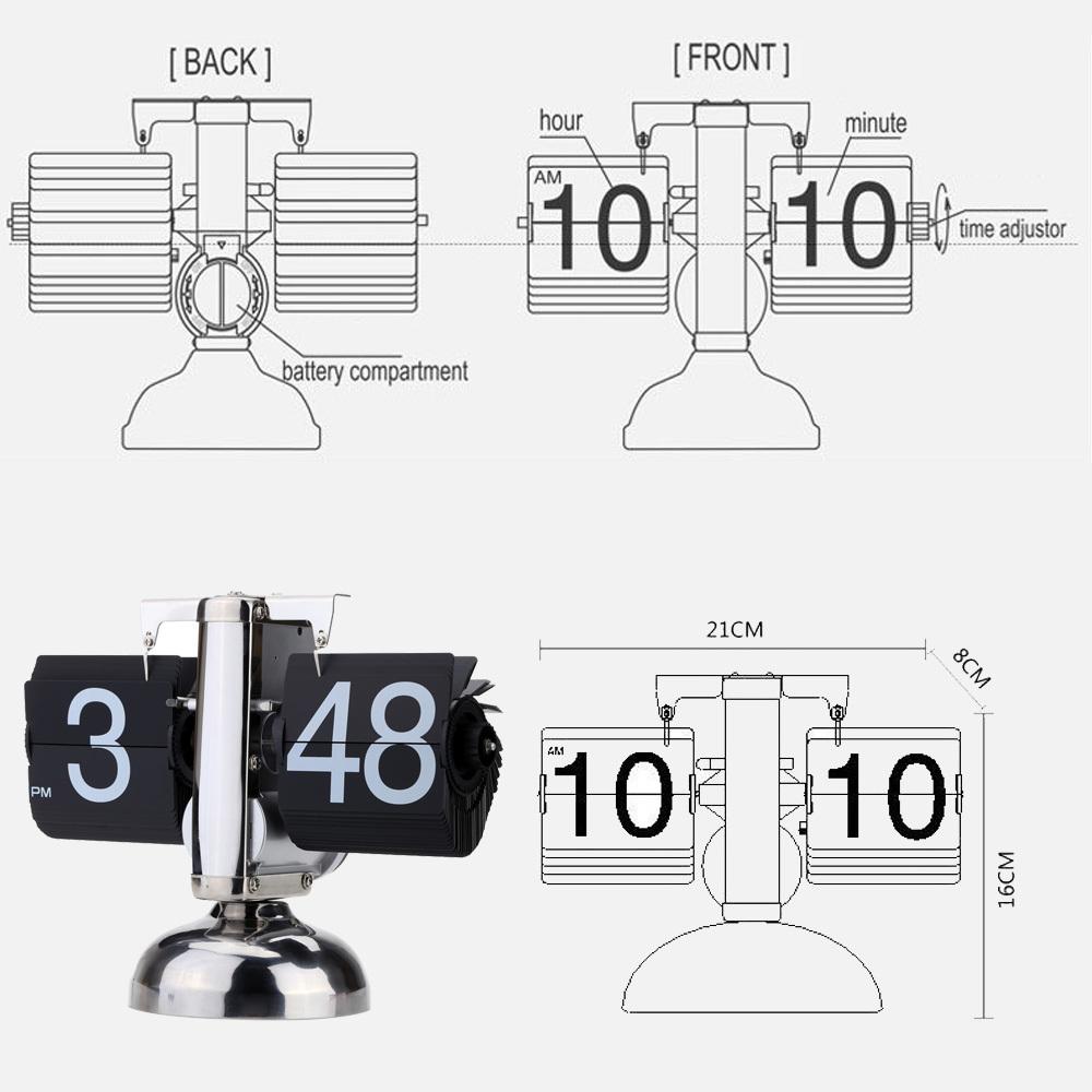 Small Scale Table Clock Retro Flip Over Clock Stainless Steel Flip Internal Gear Operated Quartz Clock Black/White