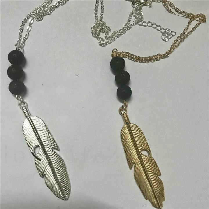 Vintage Lava-rock Bead Feather/Leaves Tassel Long Necklace Aromatherapy Essential Oil Diffuser Necklaces Black Lava Pendant Jewelry A194