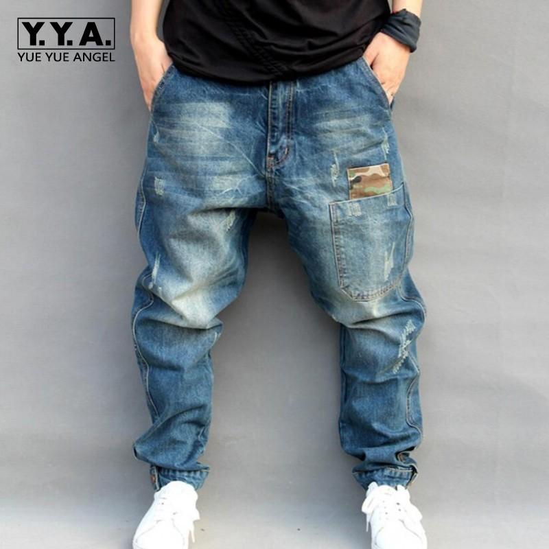 Fashion Men/'s Hip Hop Embroidery Baggy Jeans Denim Loose Trousers Streetwear