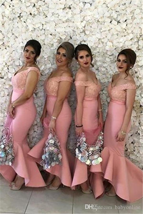 2017 New Arabic Sweetheart Off Shoulders Bridesmaid Dresses Backless Lace Bodice High Low Dubai Ruffle Skirt Maid of the Honor Dresses