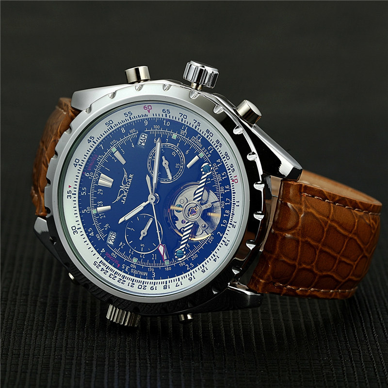 JARAGAR Men Mechanical Watch Luxury Automatic Tourbillon Watch Calendar Day Week Year Leather Relogio Masculino 2017 D18101002