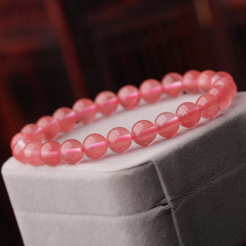 Natural Crystal Watermelon Red Crystal Bracelet Hand String Recruit Peach Blossom Love Become Attached To Ornaments Hai