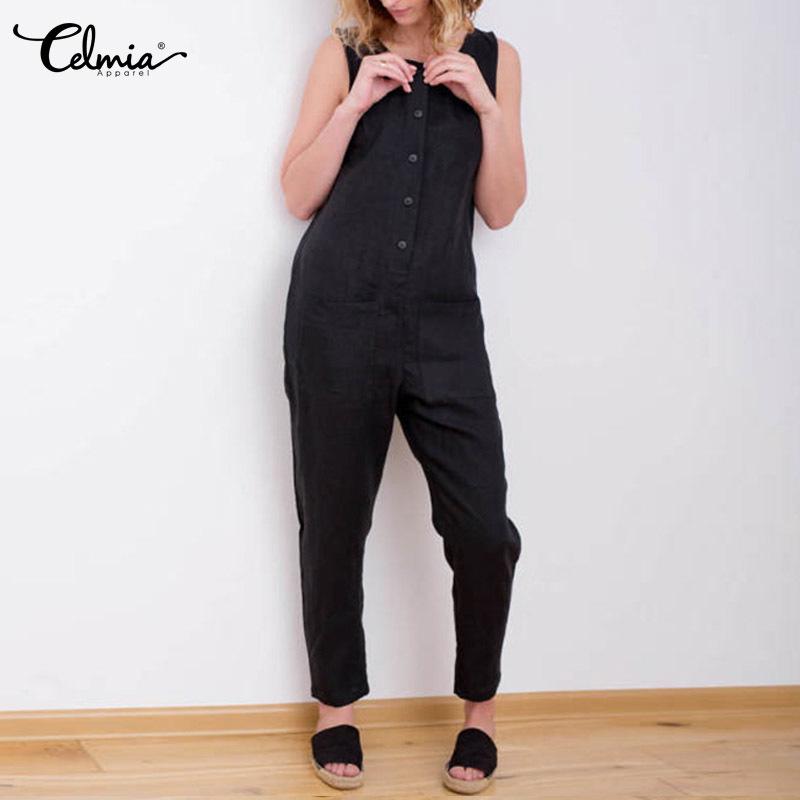 Vintage Women Jumpsuit 2018 Celmia Summer Sleeveless Casual Trousers Button Bib Rompers Cotton Linen Long Playsuit Overalls Pant Y1891807