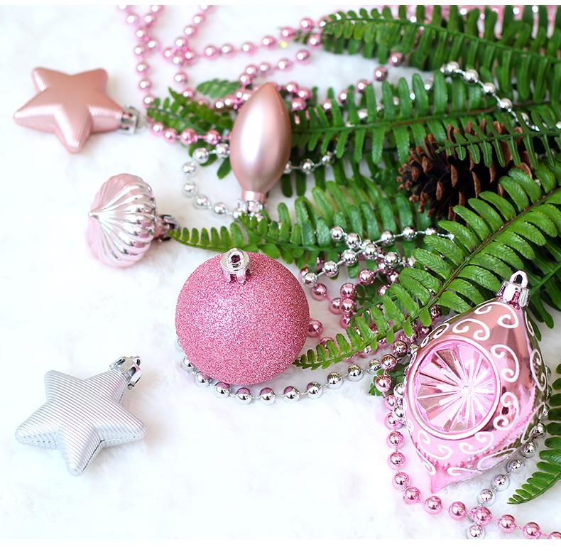 07 inhoo Pink Christmas Tree Ornaments Christmas Balls Decoration Baubles Plastic Hanging Ball Craft Supplies Xmas Gifts 2019 NEW