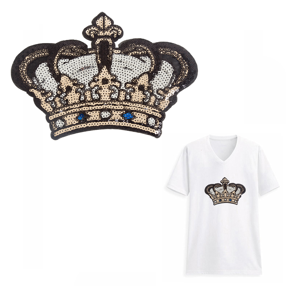 Golden Crown Sequins Beads Patch for stickers T-shirt jacket Sew on Applique TK