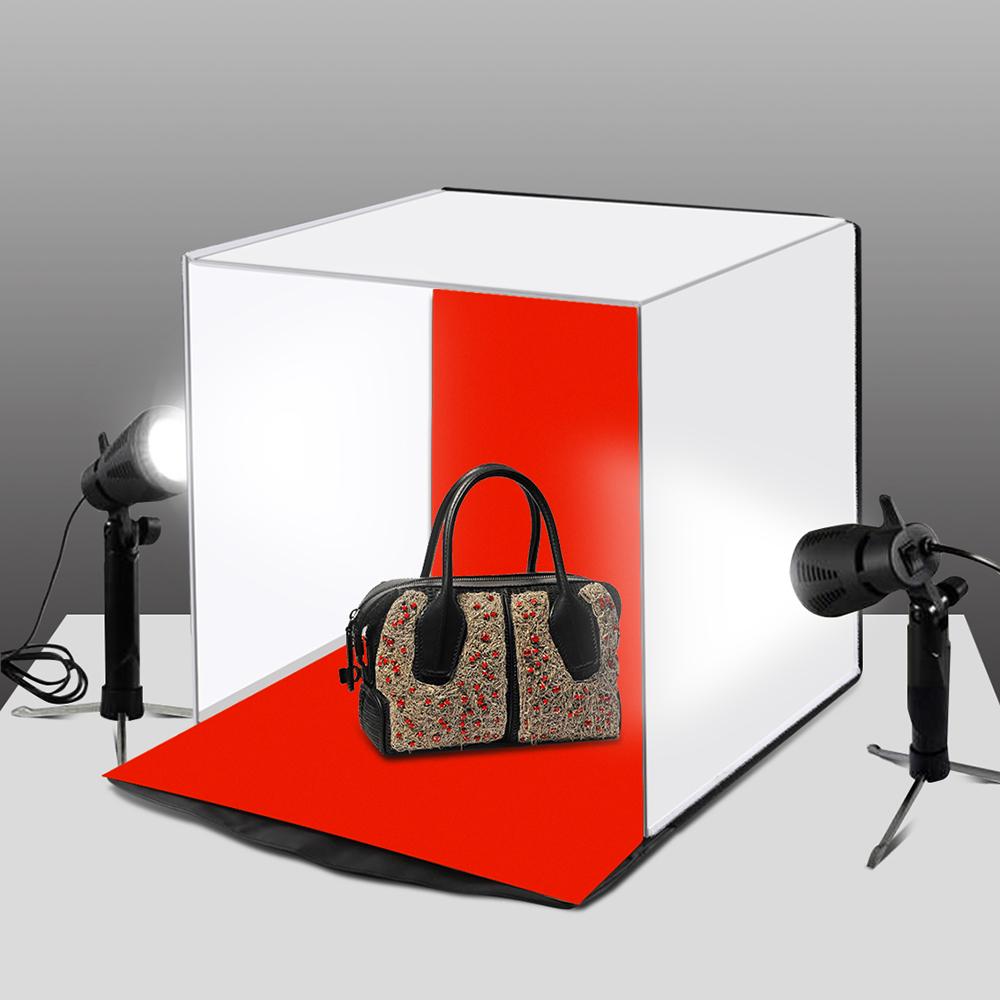 "40x40cm 16"" Photo Studio Box Photograghy Lighting Soft Boxes Portable Folding Shooting Tent Box Kits with 5 Background Backdrops"