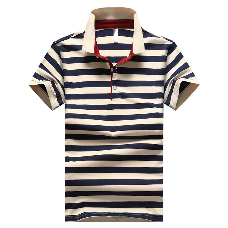 2018 Summer Mens Polo Shirt Classic Striped Cotton Short Male Polo Men Tees Breathable Quick Dry Plus Size 4XL Red Muls Brand-01