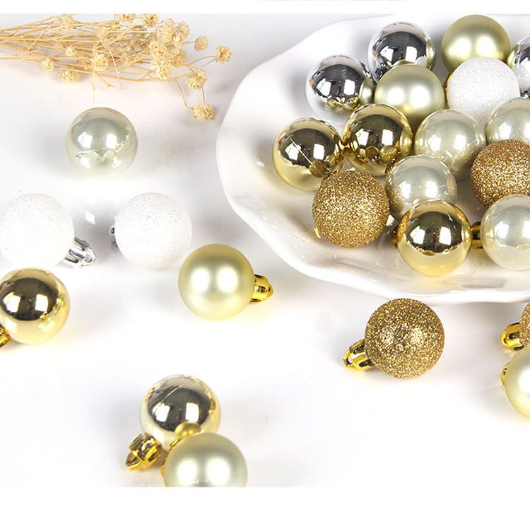 14 inhoo 49pcs Christmas Tree Ornaments Polystyrene Plastic 3cm Decor Balls Baubles Xmas Party Hanging Ball for Home Gifts 2019