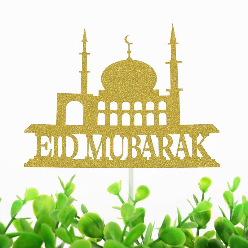 Eid Mubarak Cake Toppers Flags Glitter Kids Birthday Cupcake Topper Wedding Bride Baby Shower Party Ramadan Baking DIY