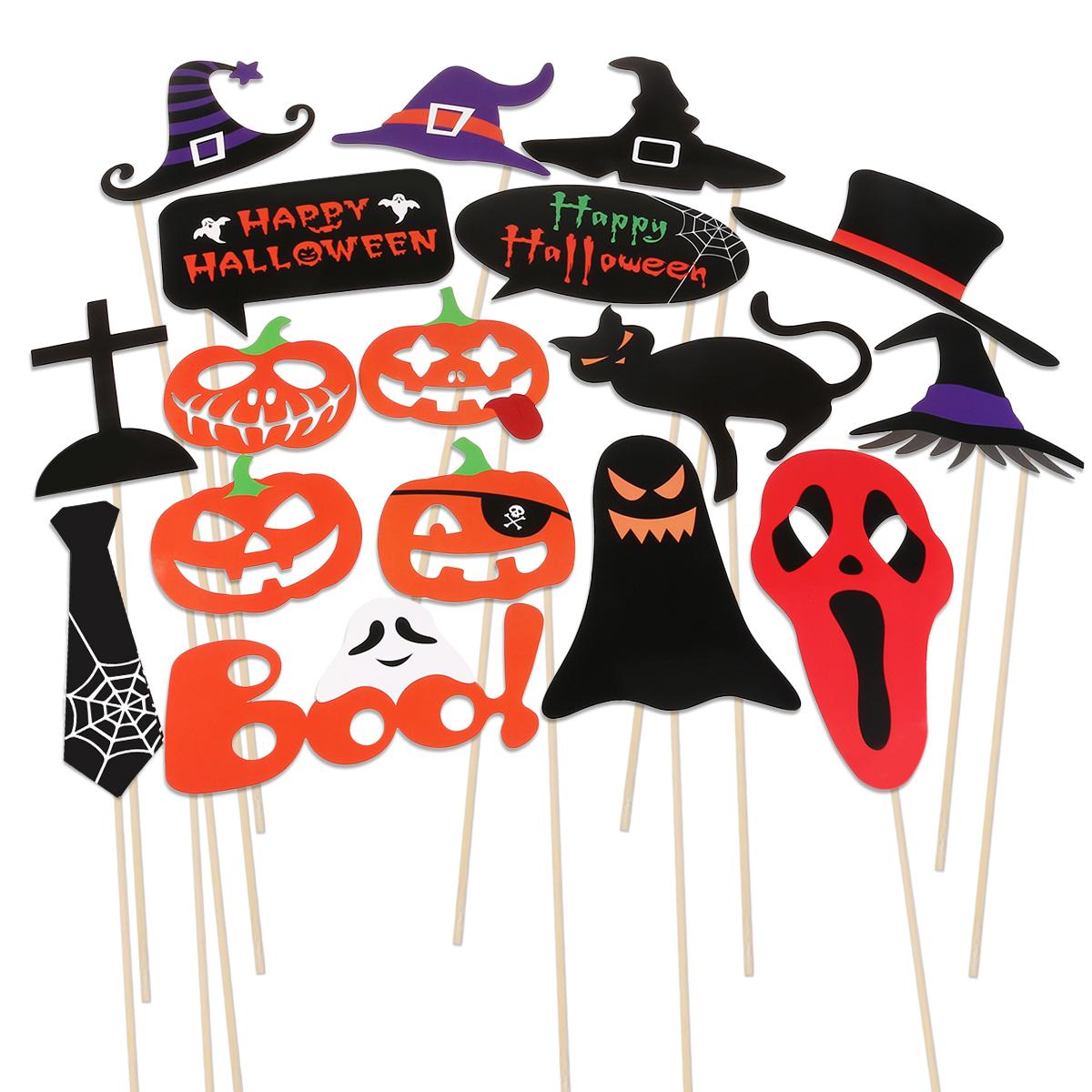 Halloween Horror Photo Props On A Stick Skull Magic Hat Pumpkin Funny Paper Beard Batman Mustache Bearded Lips Hat Masks