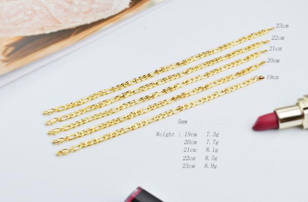 2018 New Man woman plating 18K gold 5MM Bracelet flat chain Side Bracelet Trendy Long Figaro Chain Bracelet 19/20/21/22/23cm