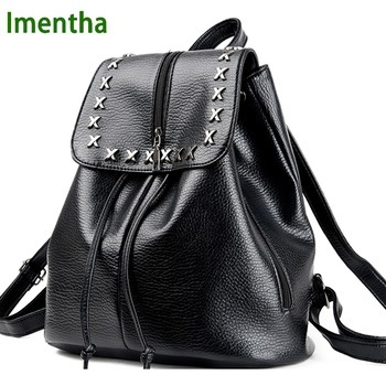 2017 women Bagpack Female X rivet shiny leather black Backpack Women Back Pack Lady School Bags for Teenagers girls
