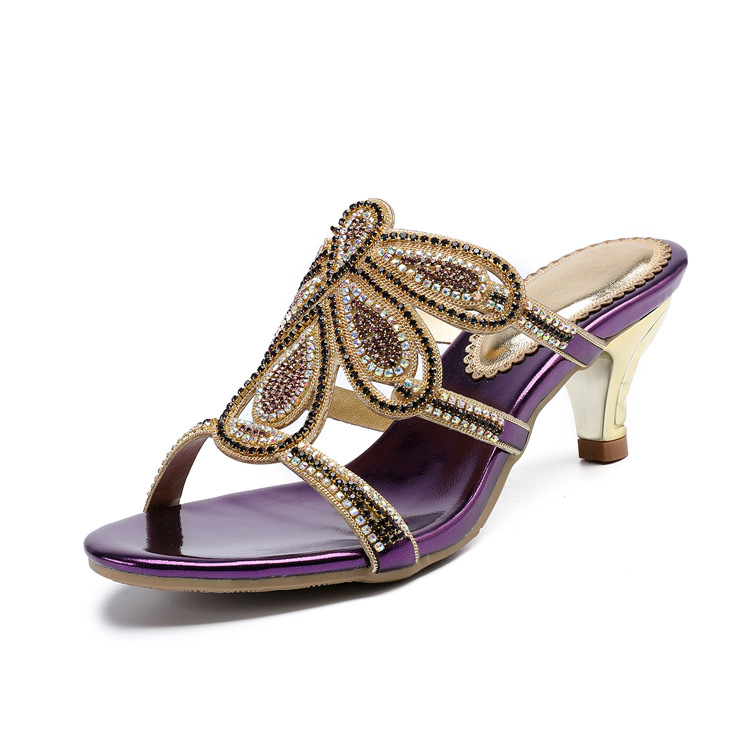 New Luxury Diamond Stiletto High Heels Slippers Online Shopping Peep Toe Womens Shoes Sale High Quality Gold Purple Black Red19