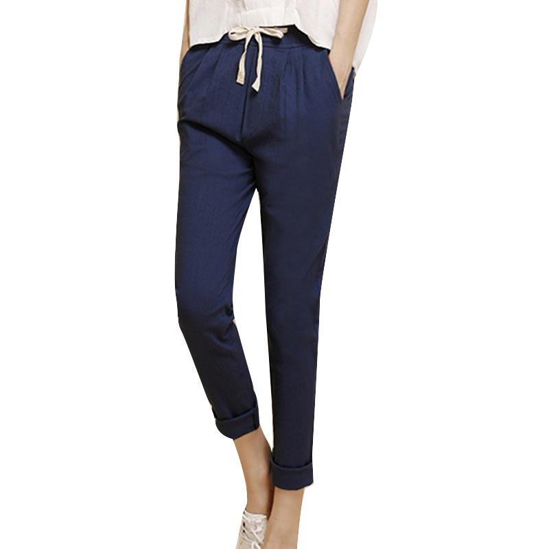 Promotion Pantalon Taille Élastique En Lin