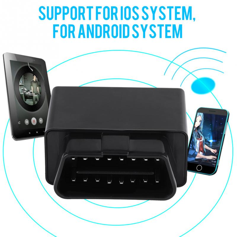 Código de Vehículos de BT OBD2 diagnóstico del coche escáner inalámbrico Lector herramienta de escaneo W / FM y Accesorios de Vehículos Localizador