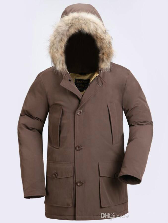 Fashion Wool rich Classic Brand Men Arctic Anorak Down jackets Man Winter white goose down 90% Outdoor Thick Parka Coat Mens warm outwear