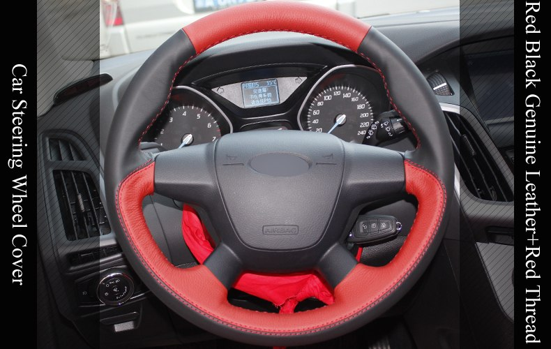 Black Red Genuine Leather DIY Hand Stitched Car Steering Wheel Cover For  Ford Focus 3 2012 2014 KUGA Escape 2013 2016 Cloth Steering Wheel Cover  Club