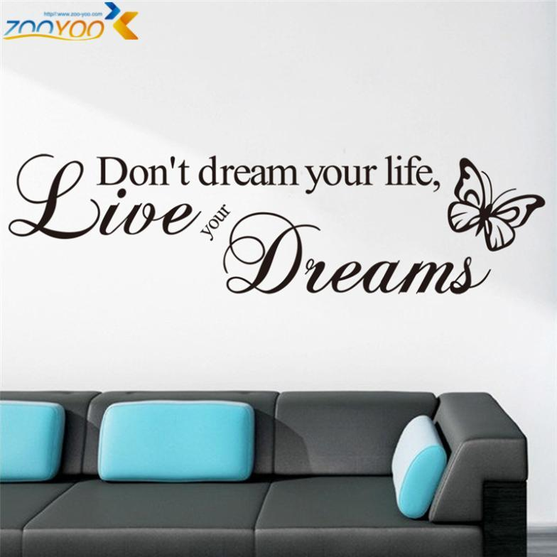 don't dream your life quotes wall decals zooyoo8142 living room decorative sticker diy vinyl wall art bedroom home decorationshaif
