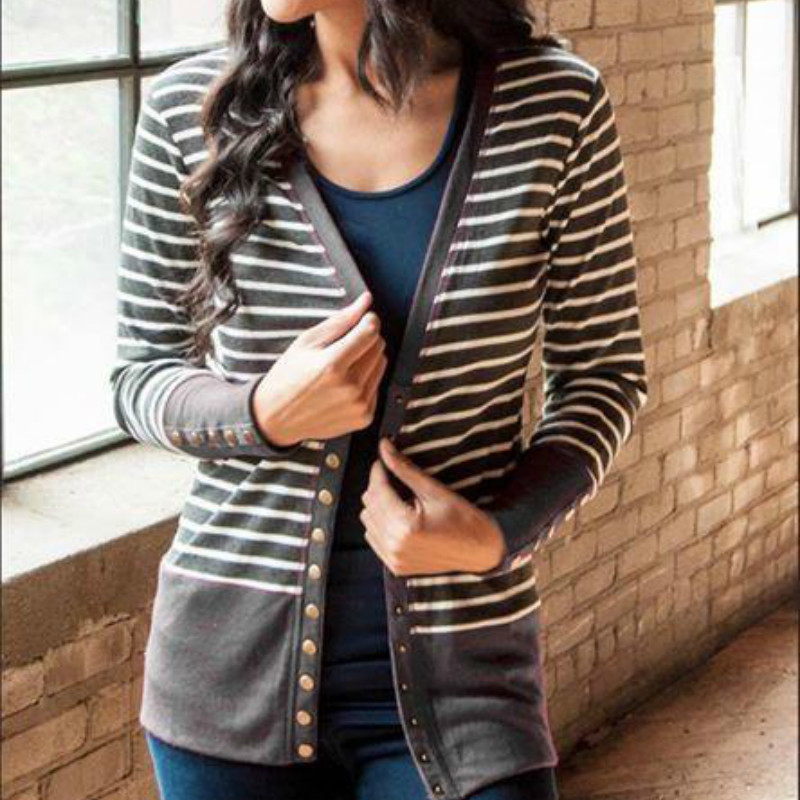 be70a0b4e Open Stitch Striped Women Jackets Patchwork Sweet Knitted Femme Shirt Coats  Slim Fit Spring Autumn Jacket Buttons Cardigan M0240 Jacket Styles Womens  ...