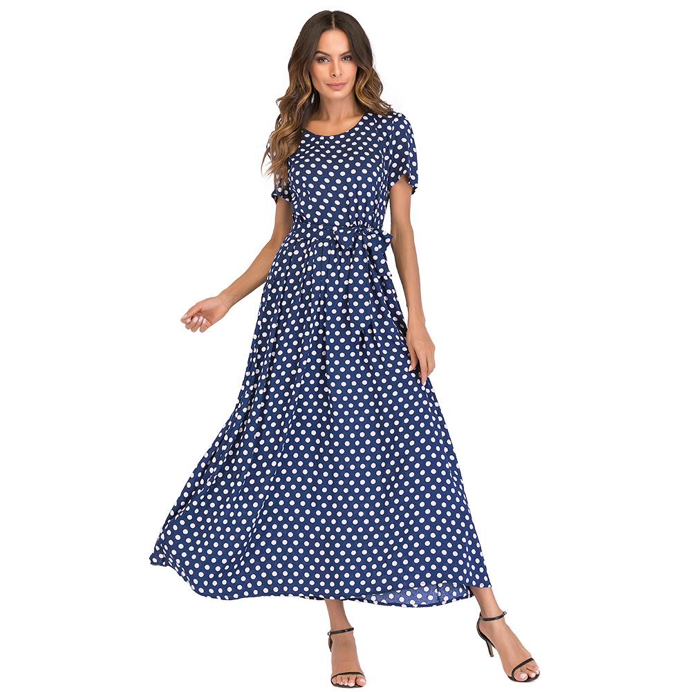 Fashion Women Long Polka Dot Dress Short Sleeves High Waist XXXL 4XL 5XL Plus Size Dress Tie A-Line Vintage Maxi Chiffon Dress