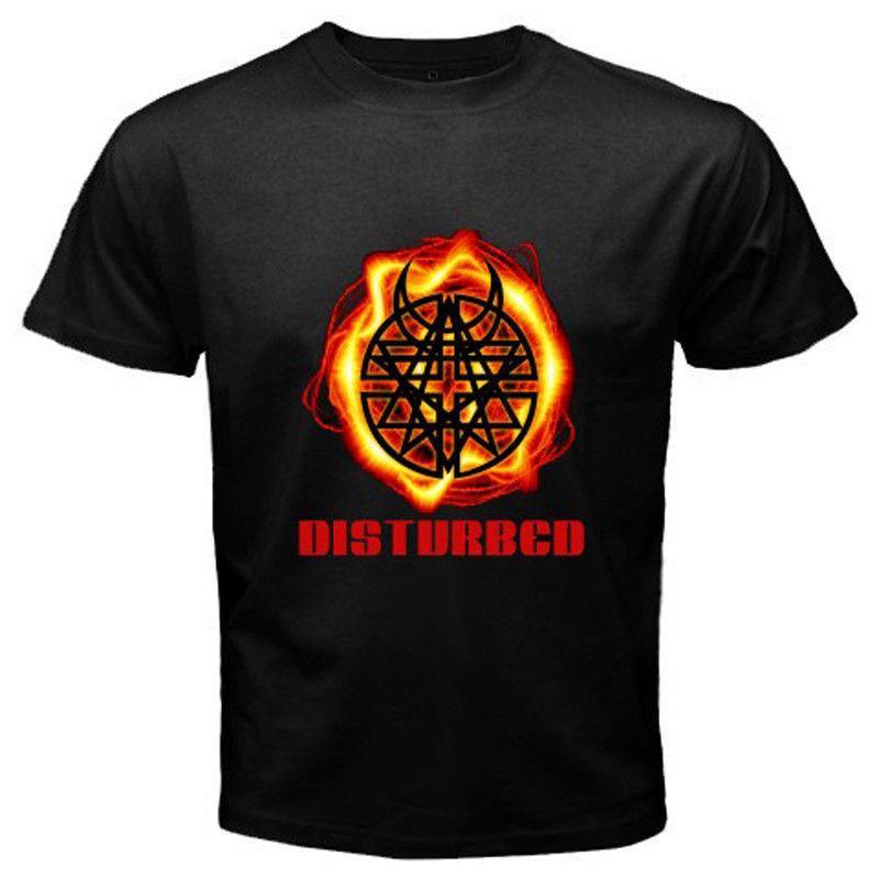 New DISTURBED Hard Metal Goth Rock Band Logo Men's Black T-Shirt Size S to 3XL