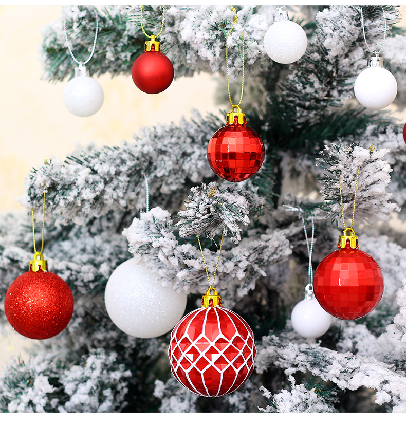 08 inhoo Christmas Tree Decoration Balls Ornaments Pendant Accessories 50pcs Red and white ball Decor For Christmas Home Party 2019