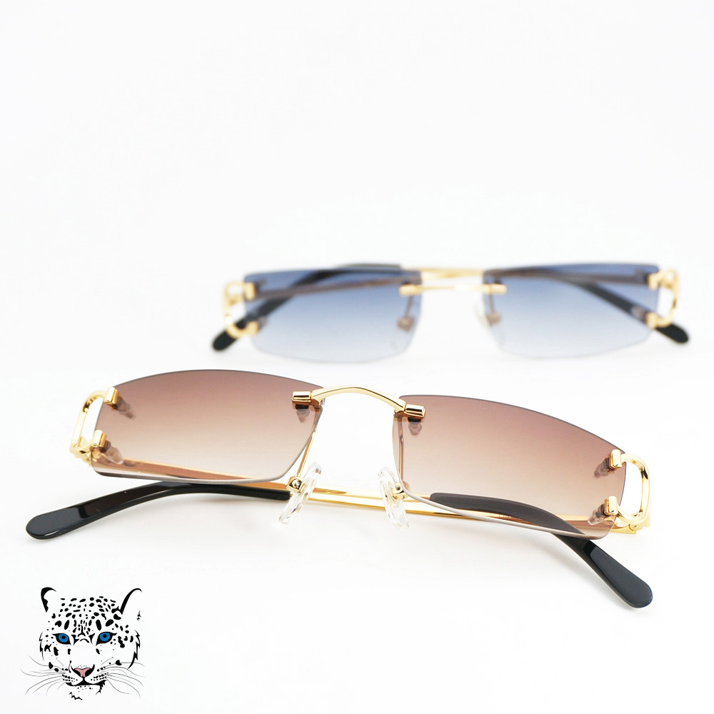 Small Size Square Rimless Sunglasses Men Women with C Decoration Wire Frame Unisex Luxury Eyewear for Summer Outdoor Traveling