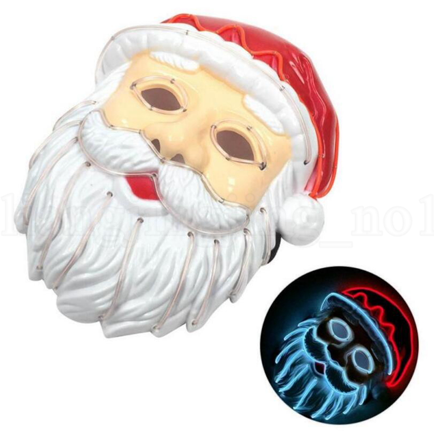 Christamas Santa Claus LED Máscara EL Wire se enciende para Festival Cosplay Máscaras de disfraces OOA5639
