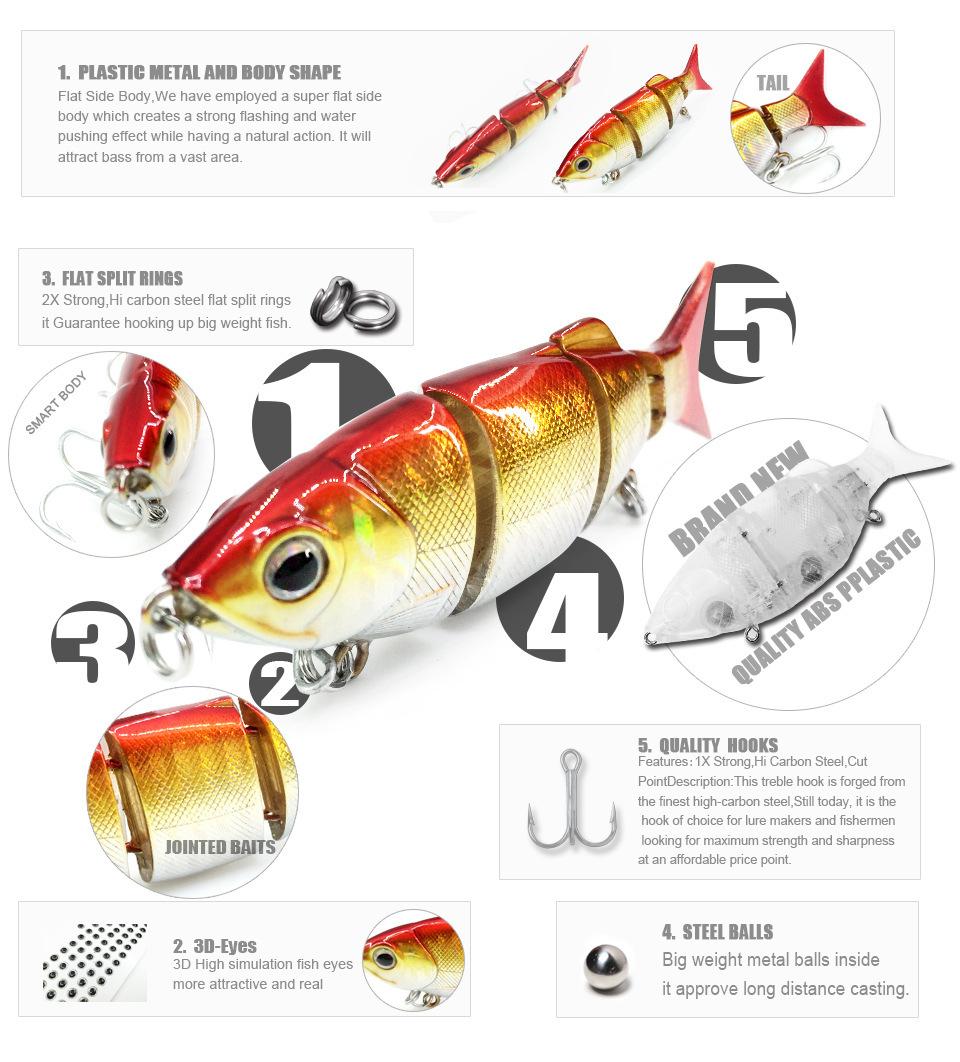 Bearking Hot good fishing lures minnow,hard baits quality professional baits 11cm/27g,swimbait jointed baitY1883010