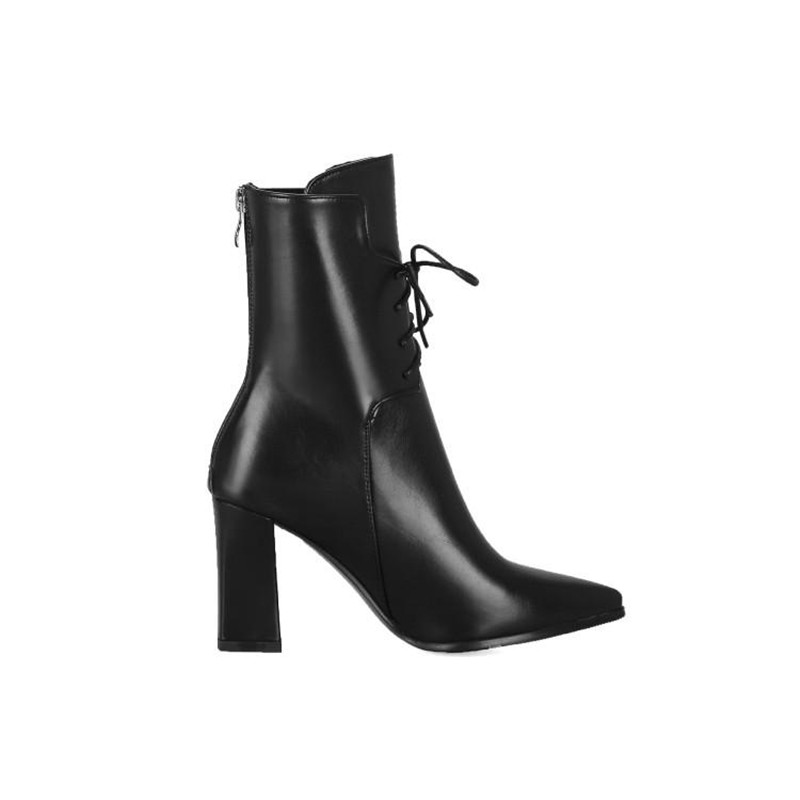 Brand Designers 2018 New Winter Women Shoes Black High Heels Riding Boots Lacing Platform Ankle Boots Chunky Heel Big Size 32-43 (15)