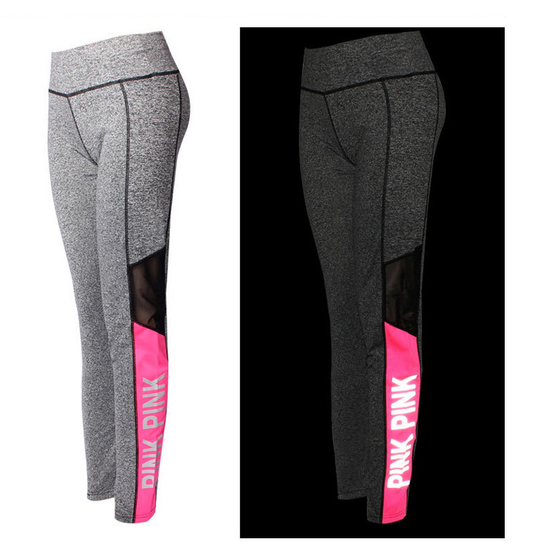 ELECTRI Yoga Pantalon Femmes Skinny Leggings Pantalon /Élastique Yoga Fitness Jogging Pantalon de Sport Capri Pantalon Lettre Imprimer Haute Taille Respirant