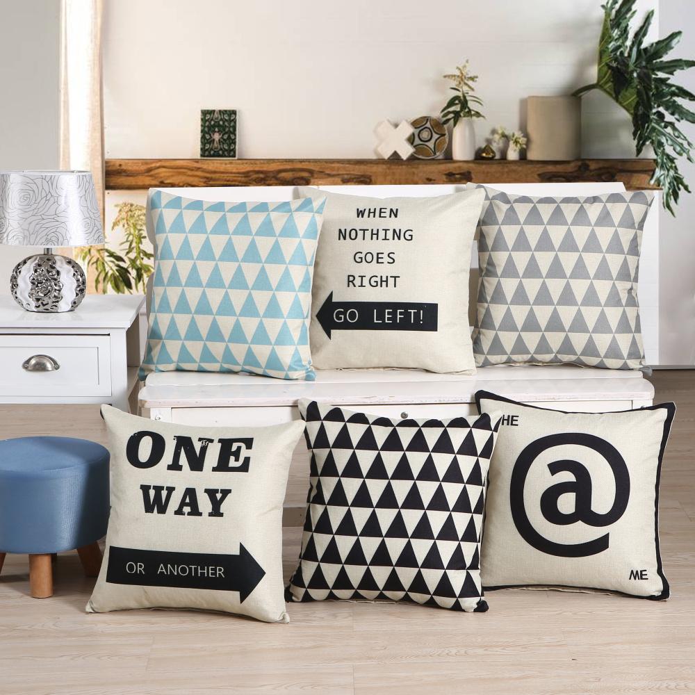 Cuscini Bianchi E Neri federa per cuscino in bianco e nero modello federa in cotone lino stampato  18x18 pollici geometria euro federe per cuscino
