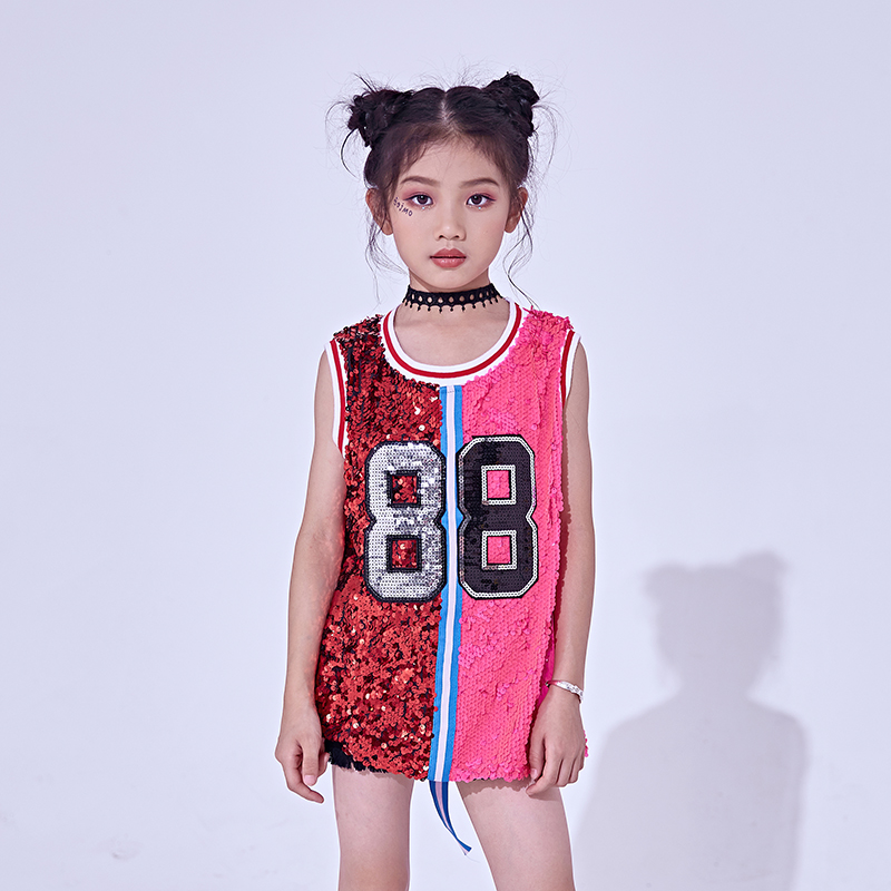 Jungen Mädchen Pailletten Weste Warnweste Hip-Hop Tanz Party Street Show Kostüm
