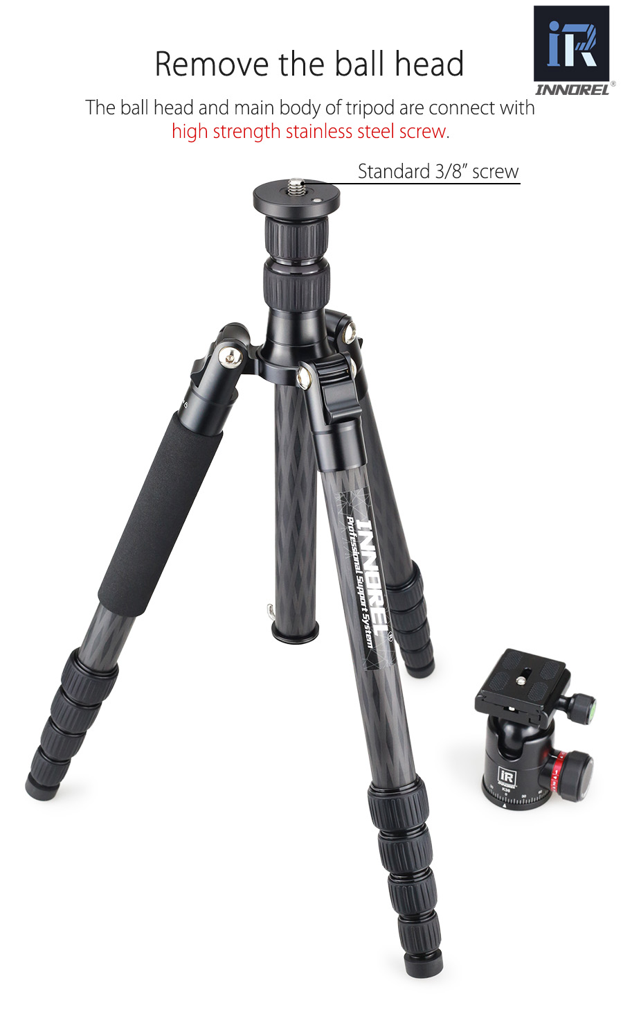 RT55C 12kg load portable carbon fiber DSLR camera tripod video travel photography tripod with ball head for Canon Nikon Sony 006