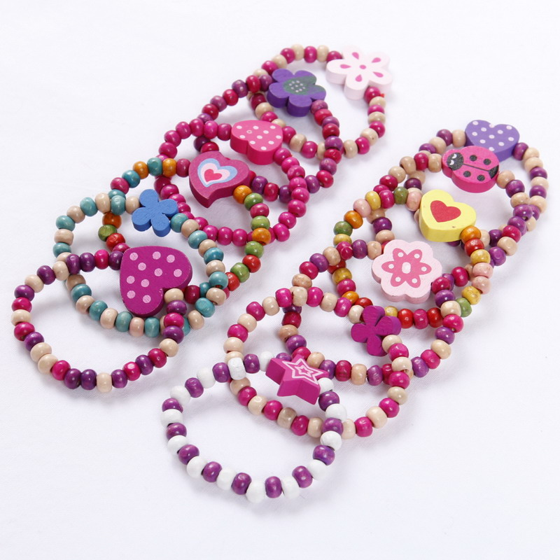 HEART BRACELETS pack of 6 elastic small princess girl Party Bags filler toy