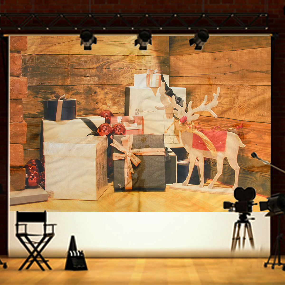 Impression Photo Planche Bois 7x5ft vinyle photographie décors de noël cadeaux de bois de wapiti planche  pour impression nouveau-né fond pour les accessoires de studio de photo