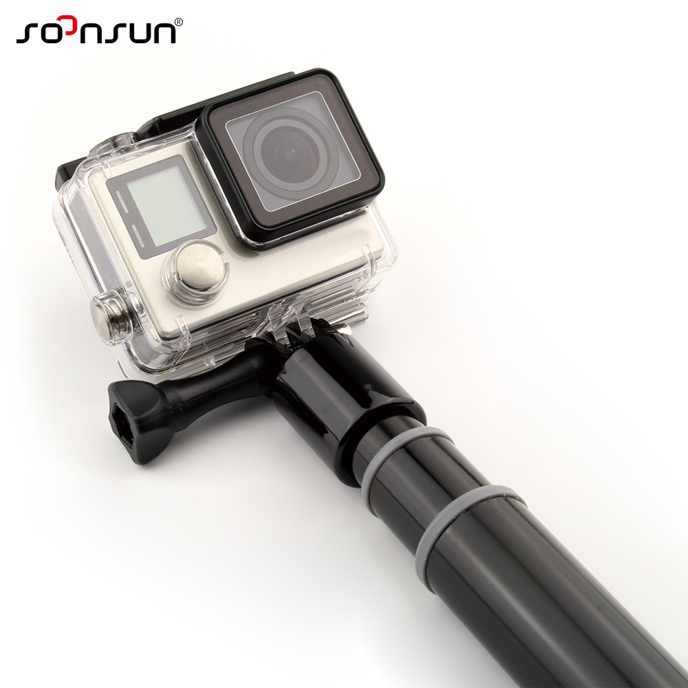 wholesale Aluminum Reach Pole Extension Monopod Selfie Stick Pole w/ WiFi Remote Clip for GoPro Hero 6 5 4 3+ SJ4000 For Xiaomi Yi