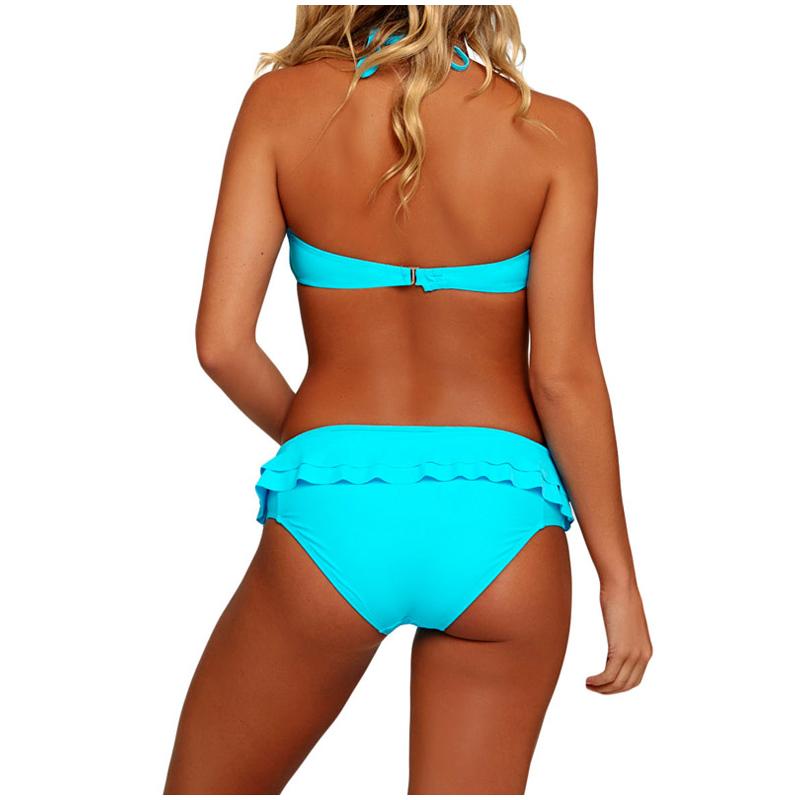 Blue Ruffled Wrap Triangle Bikinis Set Summer Beachwear Halter Lace Up Swimsuit 2017 Female Swimwear For Women Bathing Suits XXL_2