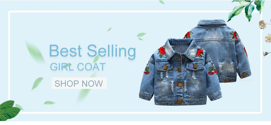 xirubaby Baby Girls Denim Jacket with Lace Embroidery Flower Long Sleeve Jeans Coat Overcoat for Kids Girls