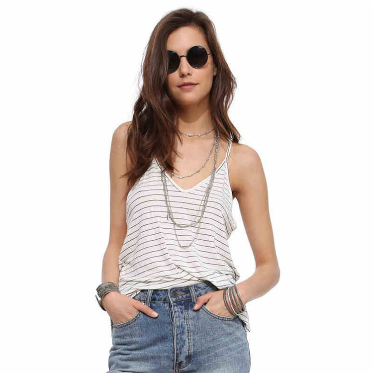2018 New Pattern Black And White Stripe Joker Sexy V Lead Camisole Reveal Back Woman Small Vest