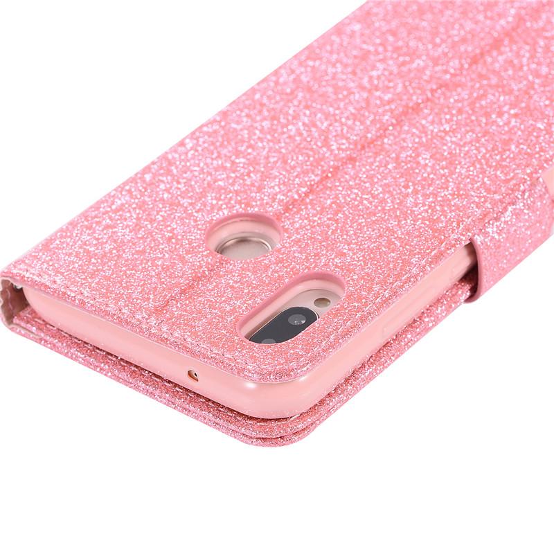 Case For Huawei P20 lite cover glitter Star diamond love flip wallet leather case For Huawei Nova 3e case silicon TPU back cover26