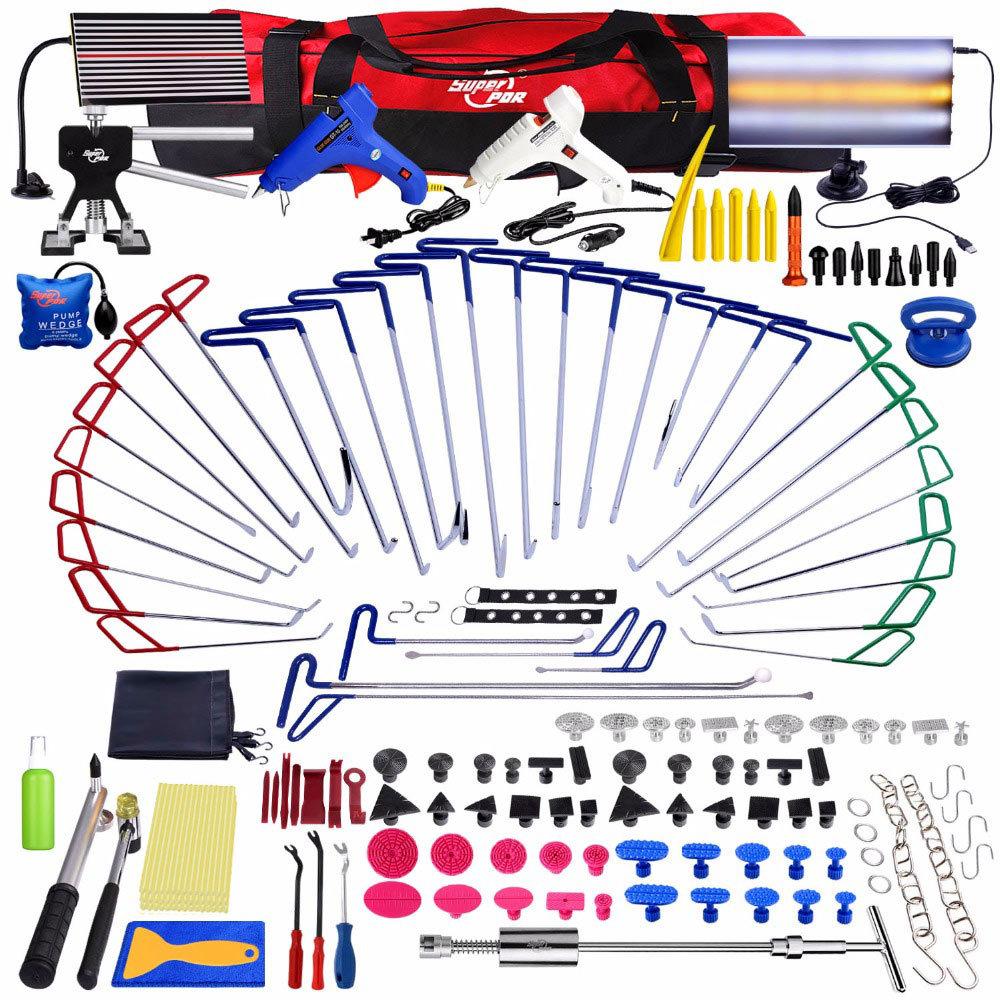 Super-PDR-Paintless-Dent-Repair-Dent-removal-Tools-PDR-Push-Rod-Hooks-Crowbar-Aluminum-LED-Light